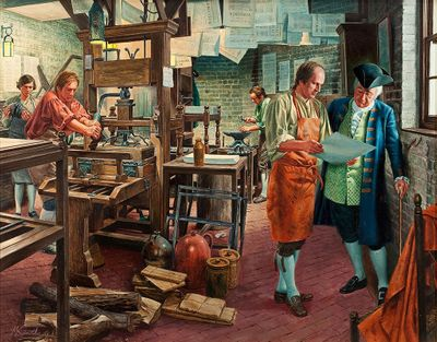 """Mort Kunstler Handsigned and Numbered Limited Edition Giclee on Canvas:""""Freedom of the Press"""""""