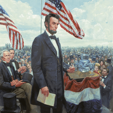 """Mort Kunstler Handsigned and Numbered Limited Edition Giclee on Canvas:""""Gettysburg Address, The The Presidential Collection"""""""