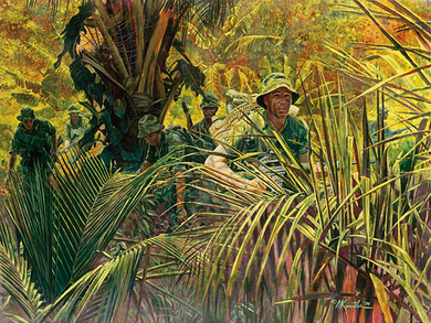 """Mort Kunstler Handsigned and Numbered Limited Edition Giclee on Canvas:""""Indiana Rangers: The Army Guard in Vietnam"""""""