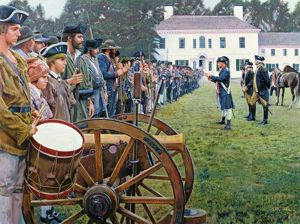 """Mort Kunstler Handsigned and Numbered Limited Edition Giclee on Canvas:""""Lafayette with Washington at Morristown"""""""