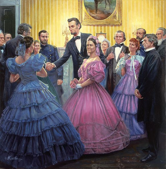 """Mort Kunstler Handsigned and Numbered Limited Edition Giclee on Canvas:""""Lincoln's Inaugural Ball"""""""