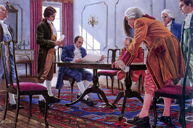 """Mort Kunstler Handsigned and Numbered Limited Edition Giclee on Canvas:""""Negotiating the Jay Treaty"""""""