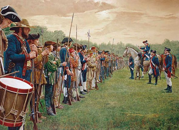 """Mort Kunstler Handsigned and Numbered Limited Edition Giclee on Canvas:""""Reading the Declaration of Independence to the Troops"""""""