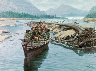 """Mort Kunstler Handsigned and Numbered Limited Edition Giclee on Canvas:""""Rogers' Rangers on Lake Champlain"""""""
