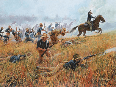 "Mort Kunstler Handsigned and Numbered Limited Edition Giclee on Canvas:""Rough Riders, The"""