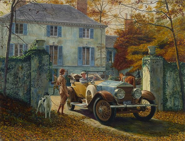 """Mort Kunstler Handsigned and Numbered Limited Edition Giclee on Canvas:""""Silver Ghost, Autumn Leaves"""""""