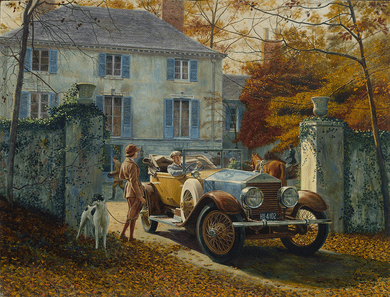 "Mort Kunstler Handsigned and Numbered Limited Edition Giclee on Canvas:""Silver Ghost, Autumn Leaves"""