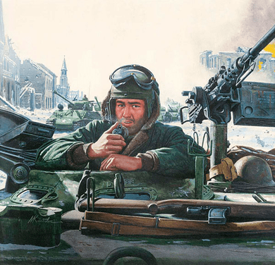 "Mort Kunstler Handsigned and Numbered Limited Edition Giclee on Canvas:""Tank Commander - Battle of the Bulge"""