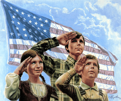 """Mort Kunstler Handsigned and Numbered Limited Edition Giclee on Canvas:""""The First Pledge of Allegiance"""""""