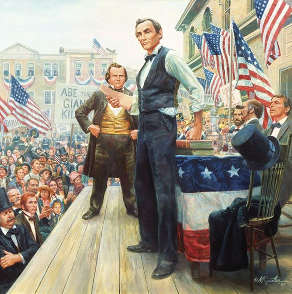 """Mort Kunstler Handsigned and Numbered Limited Edition Giclee on Canvas:""""The Lincoln-Douglas Debates"""""""