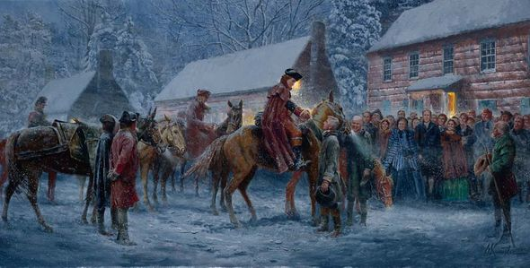 """Mort Kunstler Handsigned and Numbered Limited Edition Giclee on Canvas:""""Welcome to LeHewtown, Col. Washington"""""""