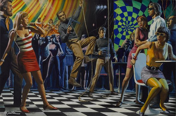 """Mort Kunstler Handsigned and Numbered Limited Edition Giclee on Paper:""""Discotheque Takeover of the Savage Corrupters"""""""