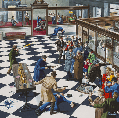 """Mort Kunstler Handsigned and Numbered Limited Edition Giclee on Paper:""""How the FBI Cracked the Last Great Bank Robbing Gang"""""""