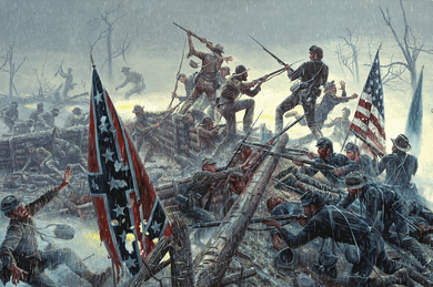 "Mort Kunstler Handsigned and Numbered Limited Edition Giclee on Paper:""The Bloody Angle"""