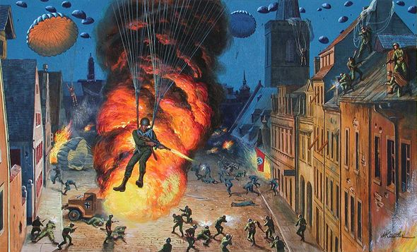 "Mort Kunstler Handsigned and Numbered Limited Edition Giclee Print on Canvas:""Jumping Wildman of the 82nd Airborne"""