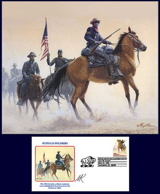 """Mort Kunstler Handsigned and Numbered Limited Edition Print:""""Buffalo Soldiers of the West """""""