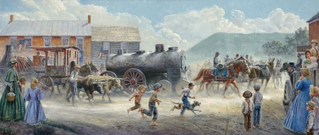 """Mort Kunstler Handsigned and Numbered Limited Edition Print :""""Heavy Traffic on the Valley Pike"""""""