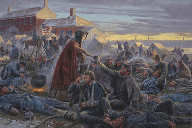 """Mort Kunstler Handsigned and Numbered Limited Edition Print:""""The Angel of the Battlefield"""""""