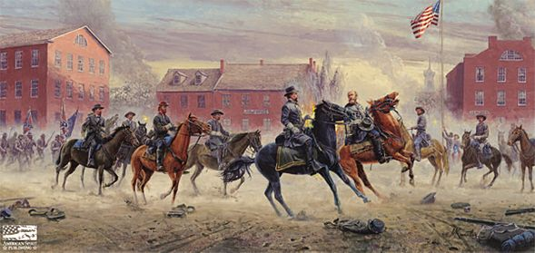 "Mort Kunstler Handsigned & Numbered Limited Edition Giclee on Canvas:""Are You Hurt, Sir (Gens. Gordon and Ewell Gettysburg, July 1, 1863)"""
