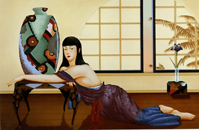 "Muramasa Kudo Limited Edition Serigraph on Paper: "" Deco Vase """