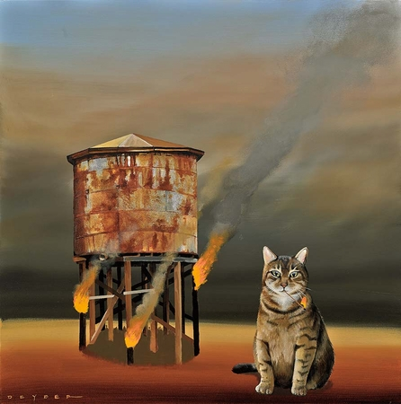 """Robert Deyber Artist Signed Limited Edition Hand-crafted Stone Lithograph:""""Cat-astrophie"""""""