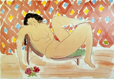 """Muramasa Kudo Limited Edition Serigraph on Paper: """" Reclining with Roses """""""