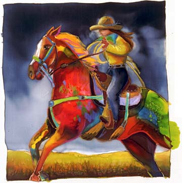 """Nancy Cawdrey Handsigned & Numbered Limited Edition Giclee on Paper:""""Roma Rides The Range"""""""