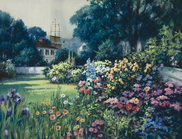 "Paul Landry Hand Numbered Ltd Ed Canvas Giclee:""Mystic Seaport Garden"""