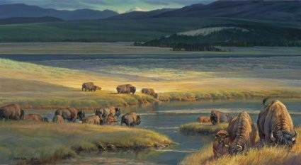 "Nancy Glazier Handsigned and Numbered Limited Edition Giclee: ""Buffalo Valley"""