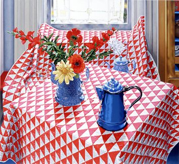 """Nancy Hagin Limited Edition Serigraph on Paper: """" Red and White Quilt """""""