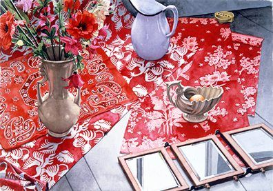 "Nancy Hagin Limited Edition Serigraph on Paper: ""Three Red Clothes """
