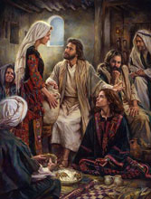"""Nathan Greene Limited Edition Canvas Giclee: """"At Jesus' Feet"""""""