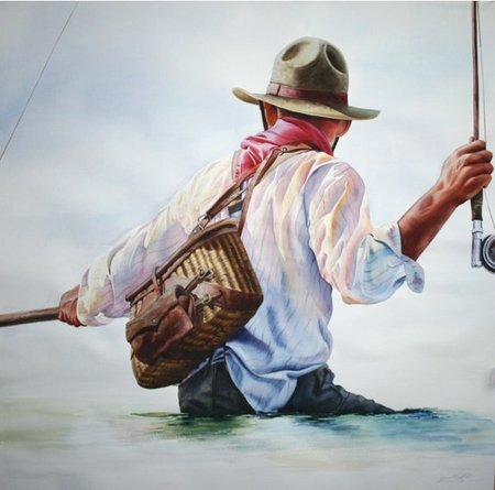 """Nelson Boren Handsigned and Numbered Limited Edition Giclee on Paper:""""River Roundup"""""""