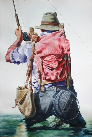 """Nelson Boren Handsigned and Numbered Limited Edition Giclee on Paper:""""Old Time Fishin'"""""""