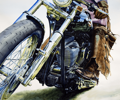 "Nelson Boren Handsigned and Numbered Limited Edition Giclee on Paper:""Ride'm Cowboy"""