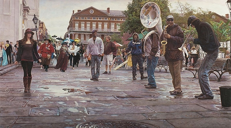"Steve Hanks Hand Signed and Numbered Limited Edition Giclee Print: on Paper and Canvas:""New Orleans (Celebrating Life, Death and the Pursuit of Happiness)"""