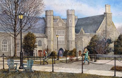 """Nicholas Santoleri Hand Signed and Numbered Limited Edition Print:""""West Chester University (Philips Memorial Hall)"""""""