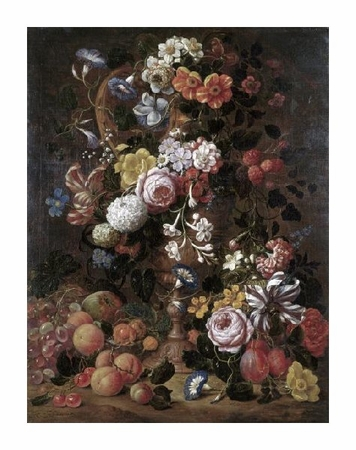 "Nicolas van Veerendael Fine Art Open Edition Giclée:""Roses, Dahlias, Convolvulus and Other Flowers"""