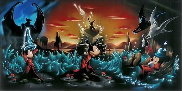 "Noah Hand Hand Signed and Numbered Canvas Giclee:""Mickey Mouse - Fantasia - The Sorcerer's Dream"""
