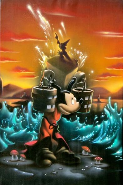 """Noah Hand Hand Signed and Numbered Canvas Giclee:""""Mickey Mouse - Fantasia - The Sorcerer's Dream Panel 2"""""""