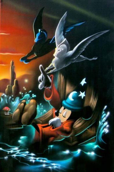 "Noah Hand Hand Signed and Numbered Canvas Giclee:""Mickey Mouse - Fantasia - The Sorcerer's Dream Panel 3"""