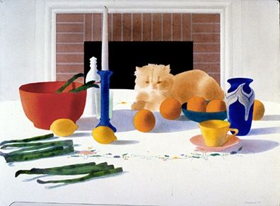 """Osborne Handsigned and Numbered Limited Edition Serigraph on Paper:""""Still Life with Cat"""""""