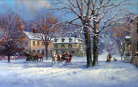 "Paul Landry Handsigned & Numbered Limited Edition Print:""Sleigh Bells Ringing"""