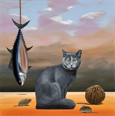 """Robert Deyber Artist Signed Limited Edition Hand-crafted Stone Lithograph:""""It's a Cat's Life"""""""