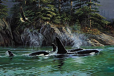 """Persis C. Weirs Limited Edition Print:""""Share Space-Orcas and Eagles"""""""