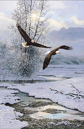"""Persis C. Weirs Limited Edition Print:""""Winter Along The River-Bald Eagles"""""""