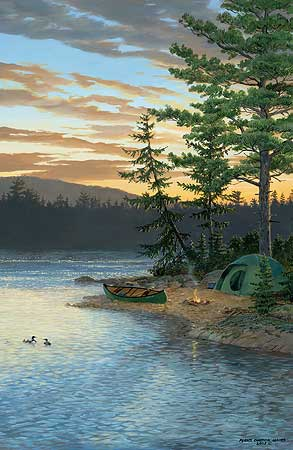 """Persis Clayton Weirs Hand Signed and Numbered Limited Edition Giclee on Canvas Edition: """"Summer Sunset - Loons"""""""