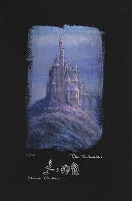 "Peter and Harrison Ellenshaw Individually Hand Numbered Limited Edition Chiarograph on Black Paper:""Beauty & The Beast Castle"""