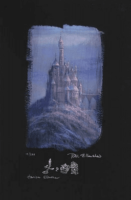 """Peter and Harrison Ellenshaw Individually Hand Numbered Limited Edition Chiarograph on Black Paper:""""Beauty & The Beast Castle"""""""