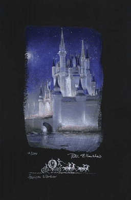 "Peter and Harrison Ellenshaw Individually Hand Numbered Limited Edition Chiarograph on Black Paper:""Cinderella Castle"""